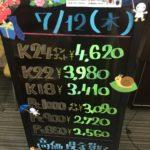 \7/12 本日の貴金属相場を確認いたしました!貴金属は大阪屋!/