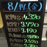 \8/17 本日の貴金属相場を更新いたしました!貴金属は大阪屋!/