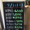 \7/11 本日は土曜日の為、変動はございません!貴金属は大阪屋!/